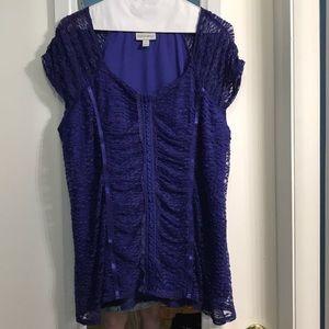 Corset Style Lace Periwinkle Blouse - EUC Size 1X